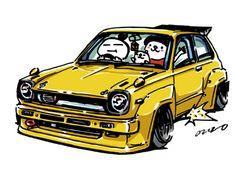 "car illustration""crazy car art""jdm japanese old school ""KP60""original cartoon ""mame mame rock""  /  © ozizo""Crazy Car Art"" Line stichersLINE STOREhttps://store.line.me/stickershop/product/1254713"