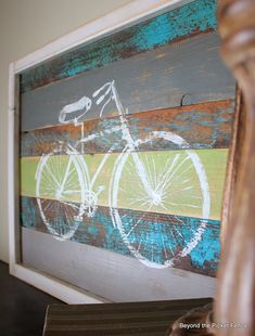 reclaimed wood bike art http://bec4-beyondthepicketfence.blogspot.com/2014/02/bicycle-art.html