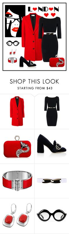 """""""Lanvin Single Breasted Whipcord Coat Look"""" by romaboots-1 ❤ liked on Polyvore featuring Lanvin, Pennyblack, Miu Miu, STELLA McCARTNEY and Gucci"""