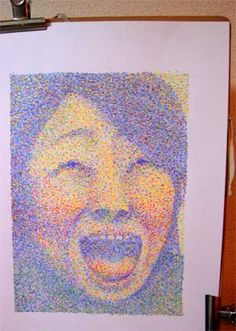 今日の笑覚 色彩学-課題2、点描にて自画像完成