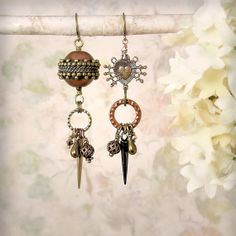 Wounded Heart - OOAK Tribal Assemblage Earrings, Rustic Mixed Metals, by MiaMontgomery