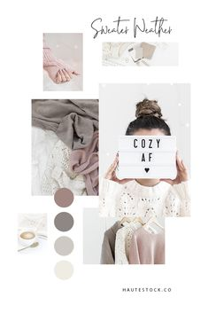 Haute Stock Lifestyle Photography - Sweater Weather Collection is all about the cozy, neutral feels in a soft brand palette of pink, taupe and beige. Color Inspiration, Moodboard Inspiration, Aesthetic Colors, Brand Board, Social Media Design, Blog Design, Mood Boards, Branding Design, Sweater Weather