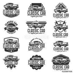 Vector: Vector car logo set, retro car logo template
