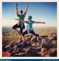"Yoga Poses Around the World: ""Warrior II and Tree ~ hiking and yoga happiness :)"""
