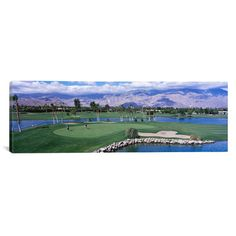 "East Urban Home Panoramic Golf Course, Palm Springs, California Photographic Print on Canvas Size: 12"" H x 36"" W x 0.75"" D"