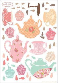 Wall Decals Mini Tea Party (Reusable and removable fabric stickers, not vinyl) - MINI Teatime $18.00:
