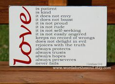 Love Is Patient- 1 Corinthians 13:4-8 Christian Bible Subway Typography Scripture Art Wooden Sign Wedding. $45.00, via Etsy.