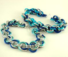 Sea Colors look great for these chainmaille bracelets!
