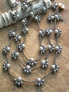 Long boho crochet necklace Starlet boho jewelry by 3DivasStudio
