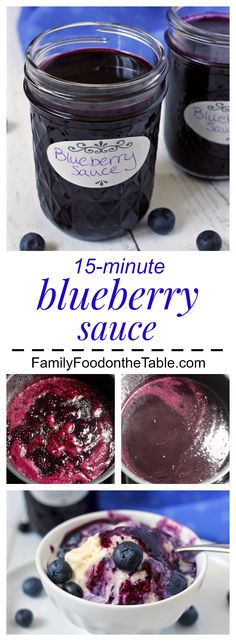 Homemade blueberry sauce - just 5 ingredients and 15 minutes!   FamilyFoodontheTable.com