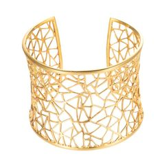 Cut-Out Wide Cuff in 18k Gold Plated Sterling Silver