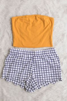 yellow tube top, crop top, shirt, gingham, plaid bottom, black white, checkered, flat lay, summer, spring // The Copper Closet, fashion, boutique, clothing, affordable, style, woman's fashion, women fashion, online shopping, shopping, clothes, girly, boho, comfortable, cheap, trendy, outfit, outfit inspo, outfit inspiration, ideas, Jacksonville, Gainesville, Tallahassee Florida, photo shoot, look book
