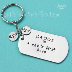 A Son's First Hero Key Chain Father's Day gift by LittlePrettiesBoutiq