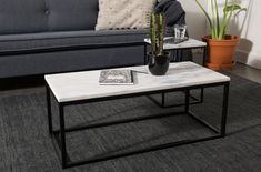 Marble Top Coffee Table with Black Steel Frame - Side Table (Width Marble Top Coffee Table, Black Coffee Tables, Coffee Table Design, Marble Interior, Trendy Home, Deco Design, Decoration Table, Living Room Inspiration, Steel Frame