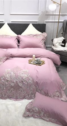 Sleep in the Comfort of Egyptian Cotton Bedding with this Beautifully Designed Pink Bedding Set for your Master Bedroom Decor Ideas. Pink Bedding Set Designer Bedding Set Egyptian Cotton Bed Sheet Set #egyptian #pinkbedding #bedding #duvetcover #duvet