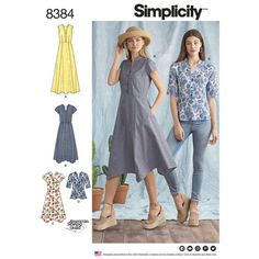 Simplici... Simplicity Ladies Sewing Pattern 8384 Shirt Top /& Shirt Dresses