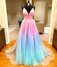 Ombre Long Prom Dress from Ladyboutiques Pretty Prom Dresses, Grad Dresses, Cute Dresses, Beautiful Dresses, Short Dresses, Unique Dresses, Homecoming Dresses, Formal Dresses, Girls Pageant Dresses
