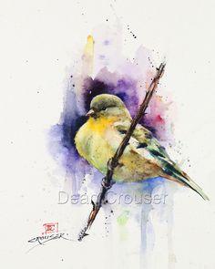 GOLDFINCH Watercolor Bird Art Print Songbird Painting by Dean