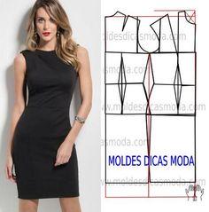 MOLDE VESTIDO PRETO -220 - Moldes Moda por Medida