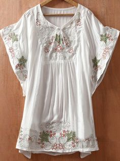 White Batwing Sleeve Tribal Embroidery Tunic Blouse - Sheinside.com