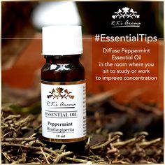 Before you sit down to study or work, diffuse a few drops of R.K's Aroma Peppermint essential oil – it's been proven to stimulate brain activity and improve concentration. #EssentialTips #LifeHacks #ProductivityHacks