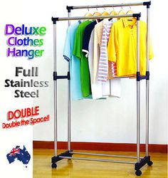 New Stainless Steel Clothes Hanger Coat Garment Drying Rack Wardrobe Clothing