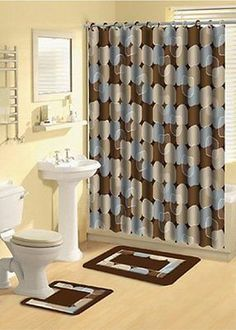 Mainstays Pc Fabric Shower Curtain And Decorative Hooks Set - Brown and blue bathroom rugs for bathroom decorating ideas