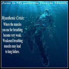 June is Myasthenia Gravis Awareness Month. Been there ... scary place to be. Feels exactly like this picture.