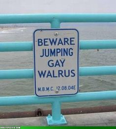 The crap...? Are they warning the Jumping Gay Walrus, or warning us ABOUT the Jumping Gay Walrus???