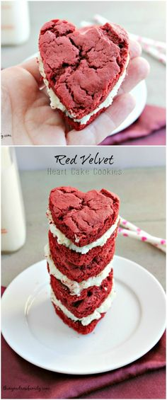 Red Velvet Heart Cake Cookies