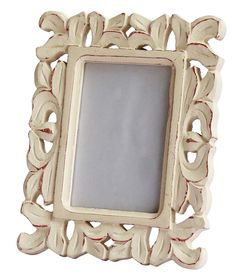 bulk wholesale handmade white picture frame in mango wood with intricate carving in traditional pattern