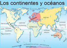 Mapa de los continentes y oceanos sociales pinterest mapa del continentes y ocanos gumiabroncs Choice Image