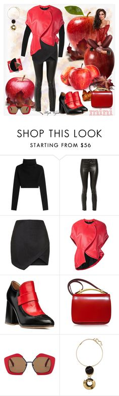 """""""Style in red and black"""" by lamipaz ❤ liked on Polyvore featuring Valentino, J Brand, Topshop, Comme des Garçons, Marni, Paolo Errico and Minime"""