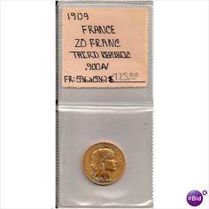 Antique 1909 French 20 Francs Gold Coin BU Full Luster