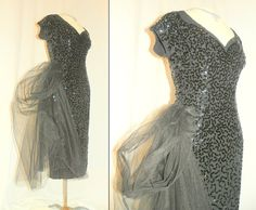 1950's Black SEQUIN Tulle Hip Sash Wiggle Cocktail Dress Vintage 50's Incredible Bombshell FRANK STARR Designer Couture Starlet Party Dress