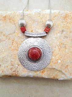 Large Pendant , Coral Stone, Circular  Handcrafted Pendant, Red Sponge Coral,  925 Sterling Silver, coral sponge pendant, silver necklace