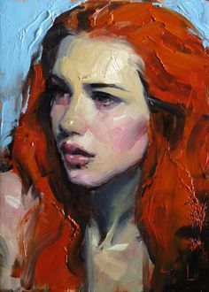 """Citrine"" - John Larriva, oil on hardboard, 2015 figurative art female redhead woman face portrait painting Art And Illustration, Painting Illustrations, Figure Painting, Painting & Drawing, Crow Painting, Painting Clouds, Painting Styles, Painting People, Painting Tutorials"