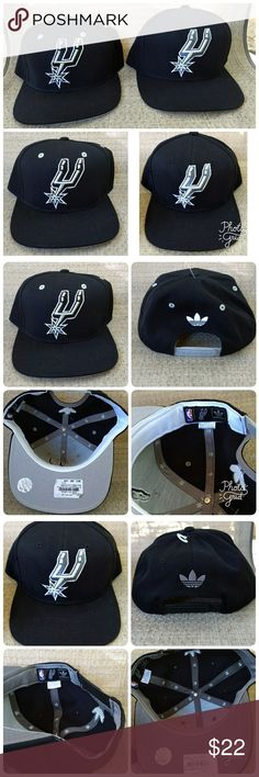 2 Adidas San Antonio Spurs Caps - NWT Adidas San Antonio Spurs snap-back caps. One is black with black & silver embroidered Spurs logo & grey vents. White Adidas logo on back. One is black with dark grey/lt grey Spurs logo & black vents. Grey Adidas logo on back. Both new with tags. Bundling together as a set. adidas Accessories Hats