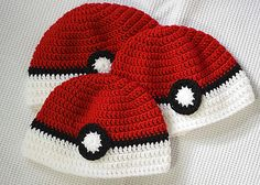 "My youngest child wanted a Pokéball hat (based on Poke'mon).. so I came up with this design. It is all double crochet. The ""button"" is also double crochet & is added after the hat is finished."