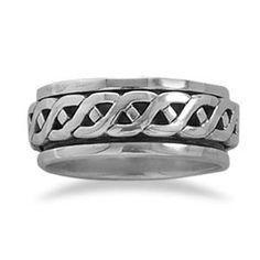 MENS  Sterling Silver Rope Design Spin Ring, Available in sizes 6-13. Find this and more designs in our online catalog at www.samanthassilver.com,  Online Catalog, Use VENDOR CODE:  AFF9965 at checkout!
