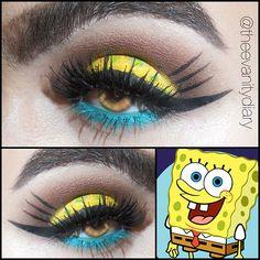 Sponje bob macke up Eye Makeup Art, Star Makeup, Beautiful Eye Makeup, Perfect Makeup, Spongebob Halloween, Spongebob Spongebob, Spongebob Squarepants, Eyeshadow Styles, Makeup Themes