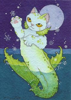 Catfish - made by Brenda Saydak Fantasy Creatures, Mythical Creatures, Sea Creatures, Fantasy Kunst, Fantasy Art, Mermaid Cat, Mermaid Illustration, Gatos Cats, Cat Mouse