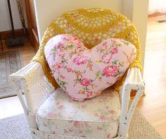 Maize Hutton-Heart Pillow from a Vintage Sheet