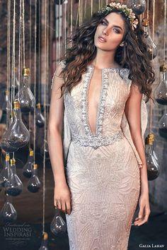 galia lahav spring 2016 bridal dresses cap sleeves front slit sexy neckline sheath wedding dress gemma
