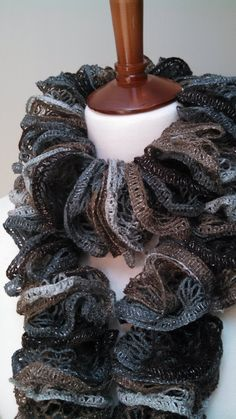 Ruffled Scarf in Smokey Grey, Taupe & Chocolate