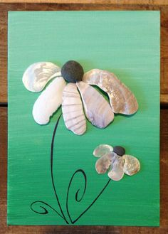 Canvas Art/Painting/Hombre Painting/Seashell Art//Pebble Art/Beach Decor/Flowers $40