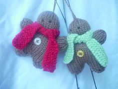 Hand knitted Christmas Gingerbread men decorations