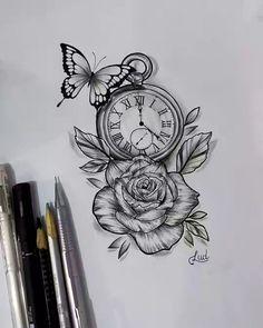 Tatuagens de Cruz: 65 Fotos e Imagems Para Você Acertar na Escolha Cross tattoo with dates and directions, very creative and delicate for all ages. Baby Tattoos, Girly Tattoos, Rose Tattoos, Leg Tattoos, Body Art Tattoos, Clock Tattoos, Butterfly Tattoos, Tattos, Rose Drawing Tattoo