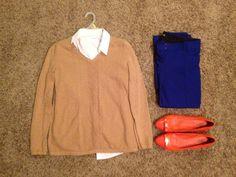 Fall Work: Talbots Camel Sweater, New York & Co White Button-up Short Sleeve Shirt, Tory Burch Orange Flats, Express Blue Straight-Legged Pants