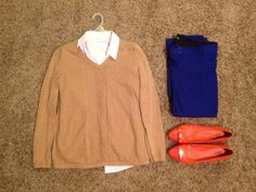Fall Work: Talbots Camel Sweater, New York & Co White Button-up Short Sleeve Shirt, Tory Burch Orange Flats, Express Blue Straight-Legged Pants